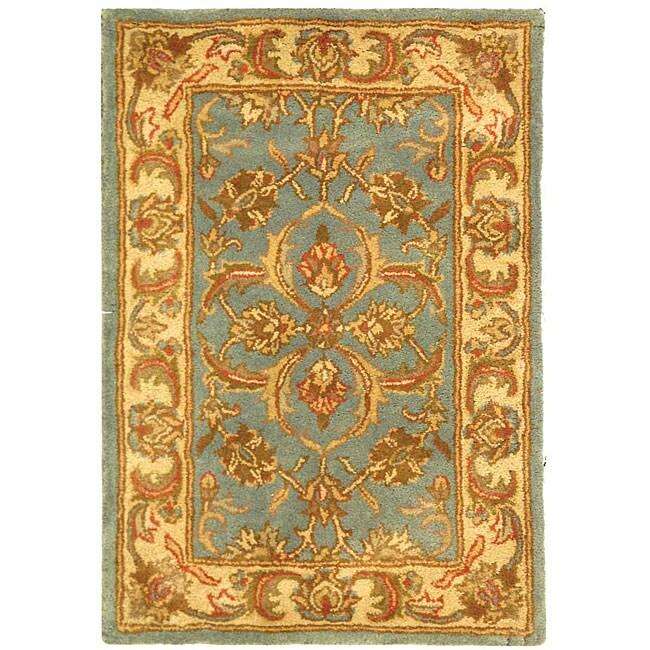 Safavieh Handmade Heritage Timeless Traditional Blue/ Beige Wool Rug (2' x 3')