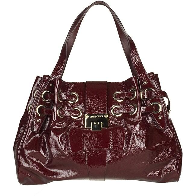 Jimmy Choo Ramona Burgundy Crushed Patent Leather Handbag