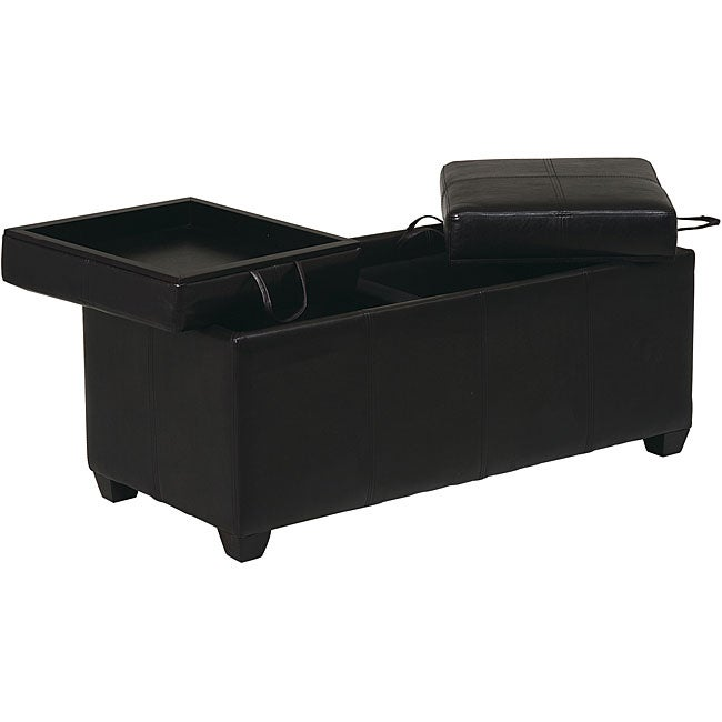 Office Star Metro Storage Ottoman with Dual Trays