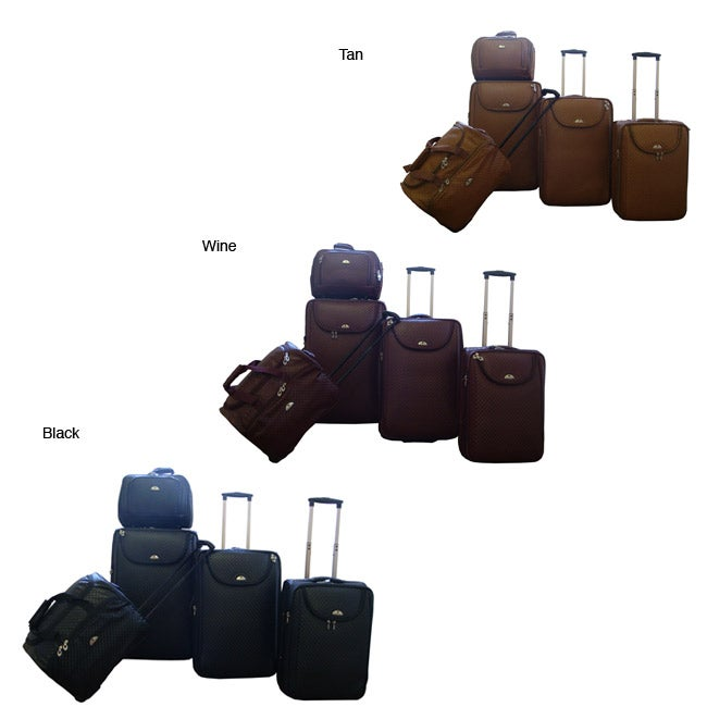 American Flyer Basket Weave 5-piece Luggage Set