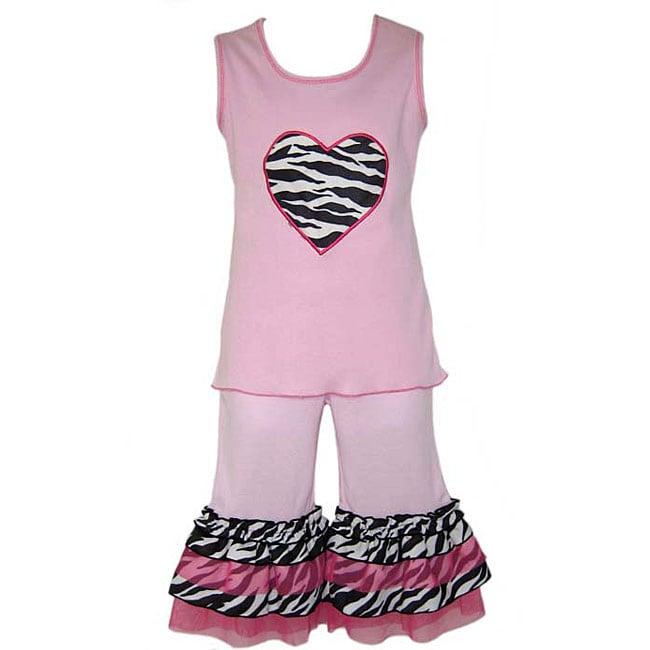 AnnLoren Girl's Pink Zebra Cha Cha Capri Outfit
