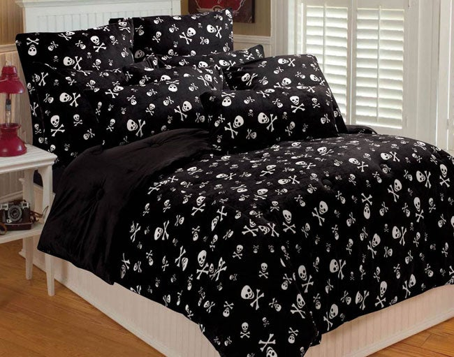 Reversible Micro Plush Skull Comforter Set Free Shipping