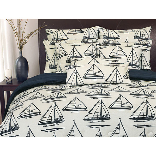 Reversible Micro-plush Sailboat Comforter