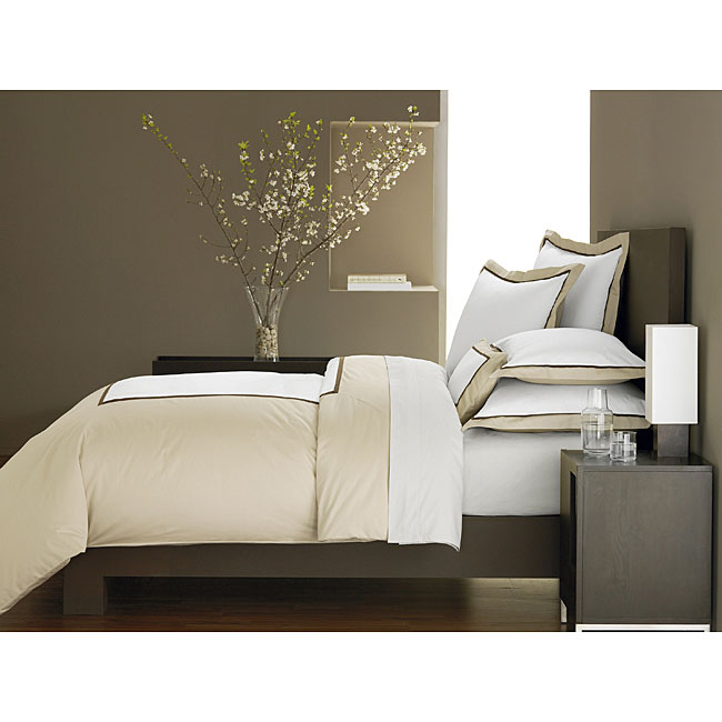 Ampersand Colorblock Taupe King-size Duvet Cover