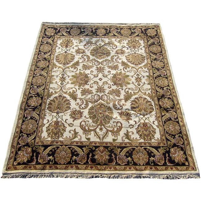 Shop Indo Mahal Ivory Black Wool Rug 8 X 10 Free