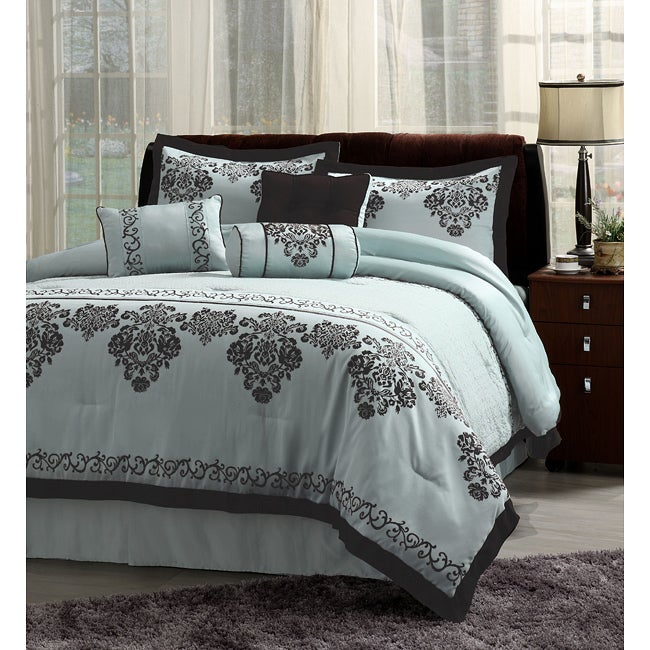 Fontaine 7-piece Blue with Black Trim Comforter Set