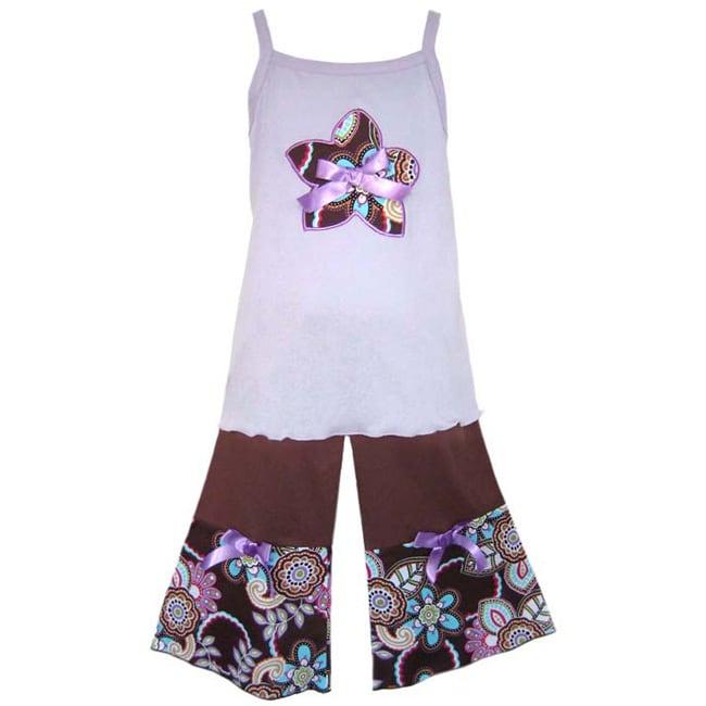 AnnLoren Girl's Lavender/ Chocolate Capris Set