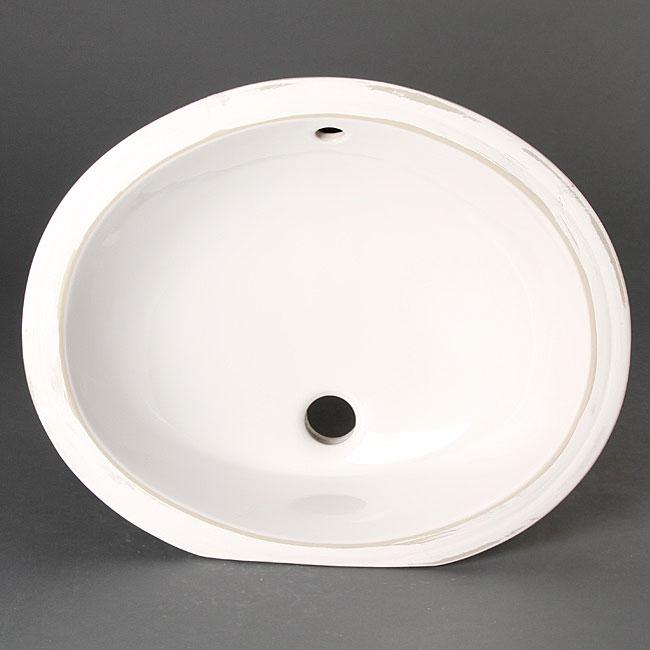 Geyser White Vitreous Porcelain Ceramic Undermount Bathroom Sink