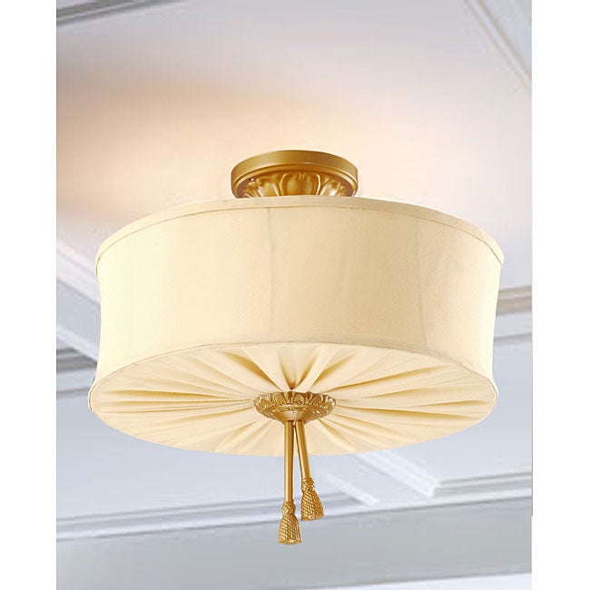 Antique Gold Fabric Shade 3-light Pendant