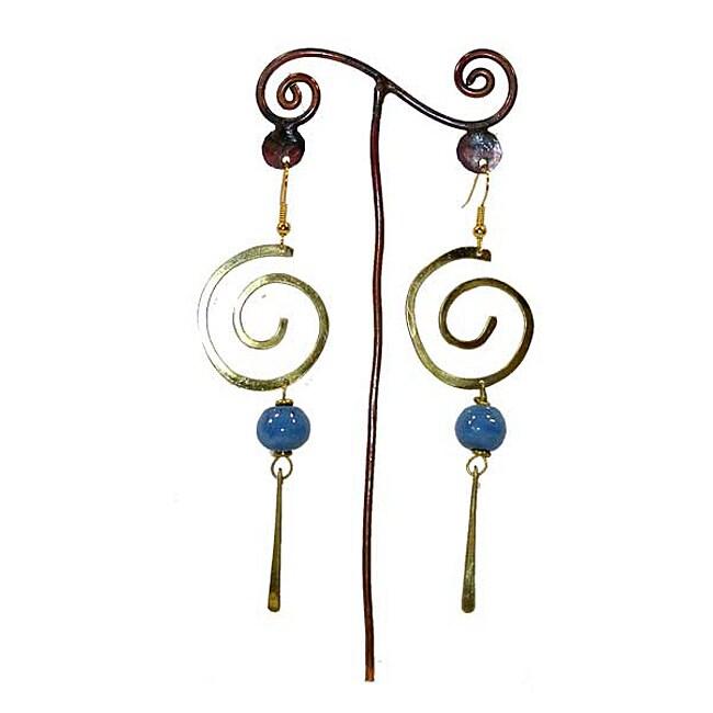 Brass Large Swirl and Blue Bead #4 Earrings (Kenya)