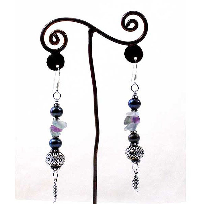 Silver Leaf Pearl and Stone Earrings (Thailand)