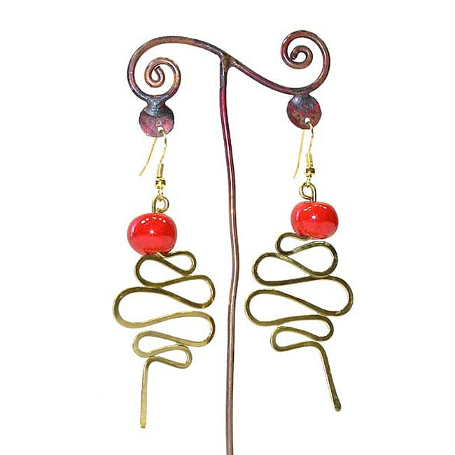 Brass Red Bead and Curvy Tail Earrings (Kenya)