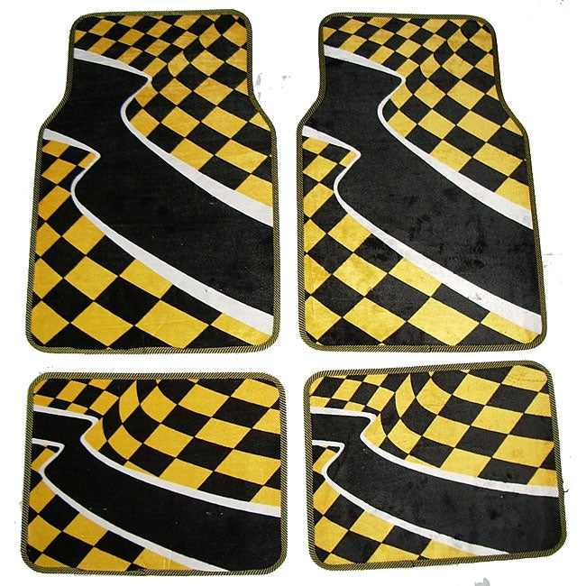 Checkered Flag Rug: Yellow Checkered Flag Front And Rear Carpet Car Floor Mats