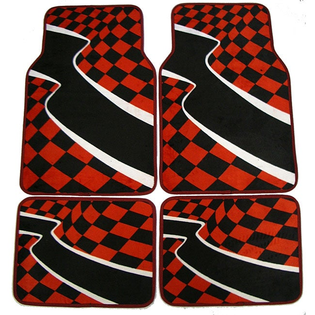 Checkered Flag Rug: Red Checkered Flag Front And Rear Carpet Car Floor Mats