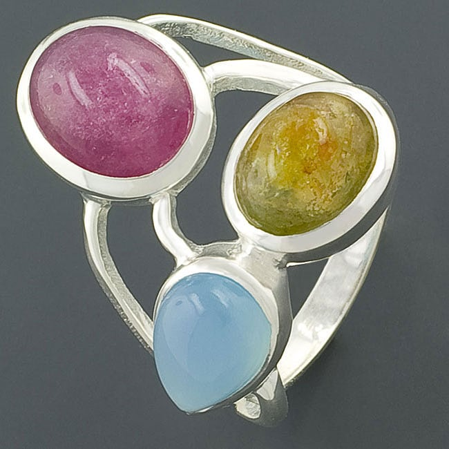 Sterling Silver Tourmaline and Chalcedony Ring (India)