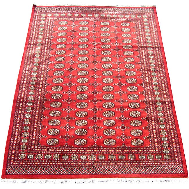 Shop Pakistani Hand Knotted Red Ivory Bokhara Wool Rug 6