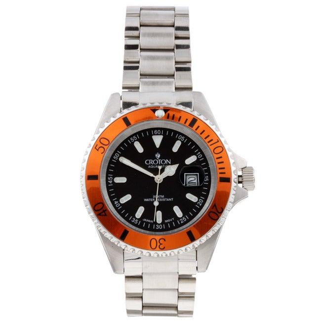 Croton Men's Orange Bezel Diver's Sport Watch