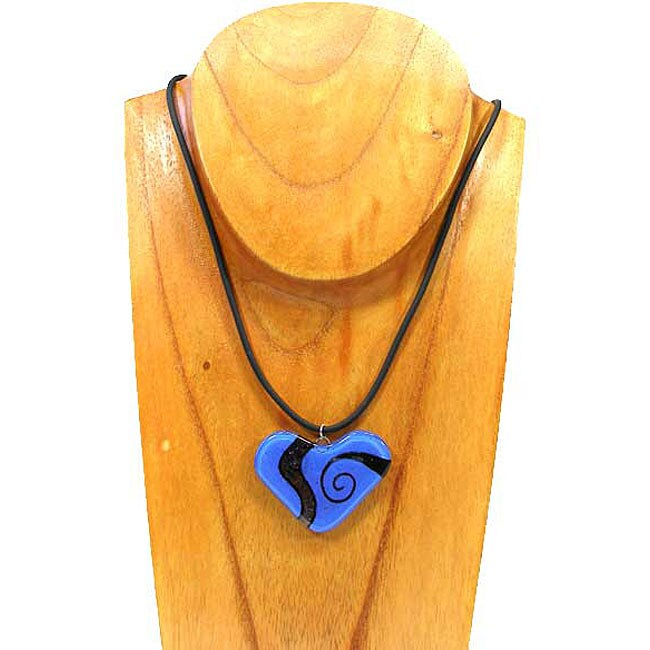 Blue Glass Heart with Back Spirals Necklace (Chile)