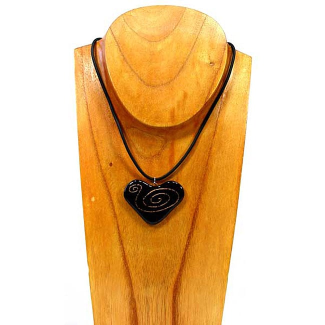Black Glass Heart with Bronze Spirals Necklace (Chile)