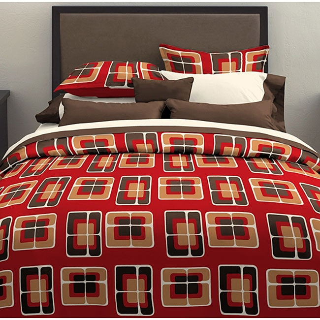 Retro Squares 3-piece Duvet Cover Set