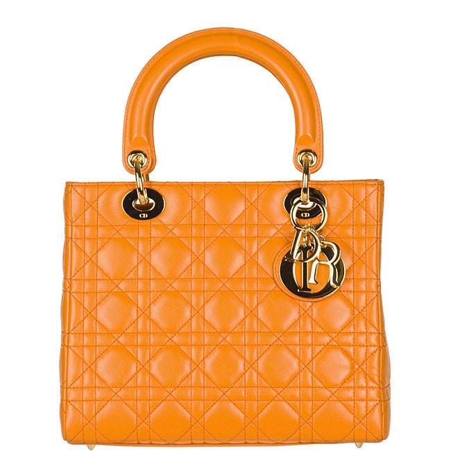 Christian Dior 'Lady Dior' Small Orange Quilted Tote
