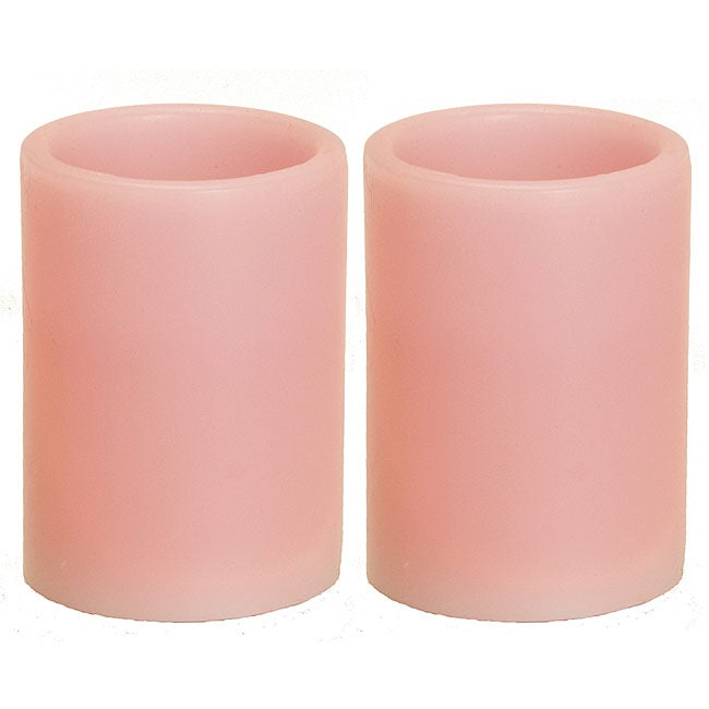 Flameless Pink Pillar Candles Set Of 2 Free Shipping