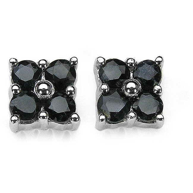 Malaika Silver Sapphire Round Stud Earrings