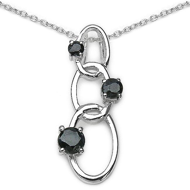 Malaika Silver Genuine 3-stone Sapphire Necklace