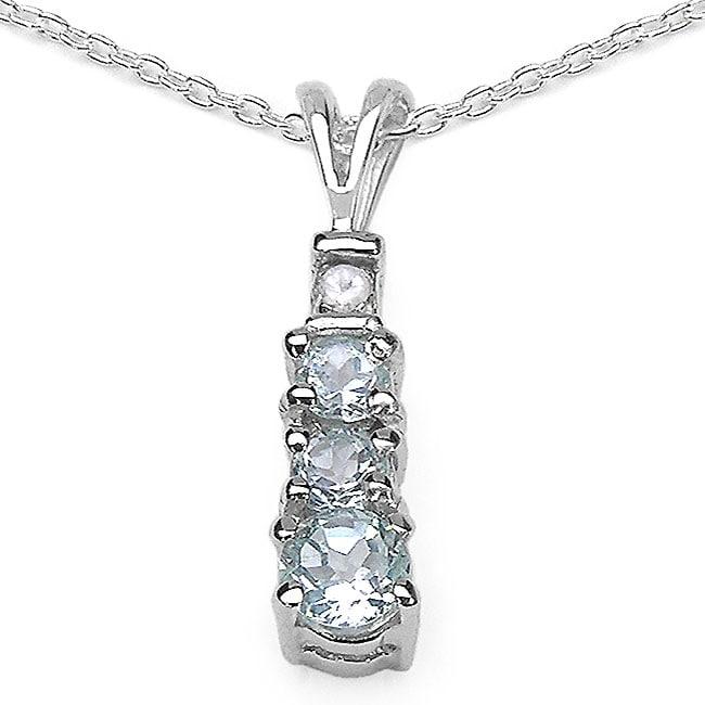 Malaika Sterling Silver Blue and White Topaz Journey Necklace
