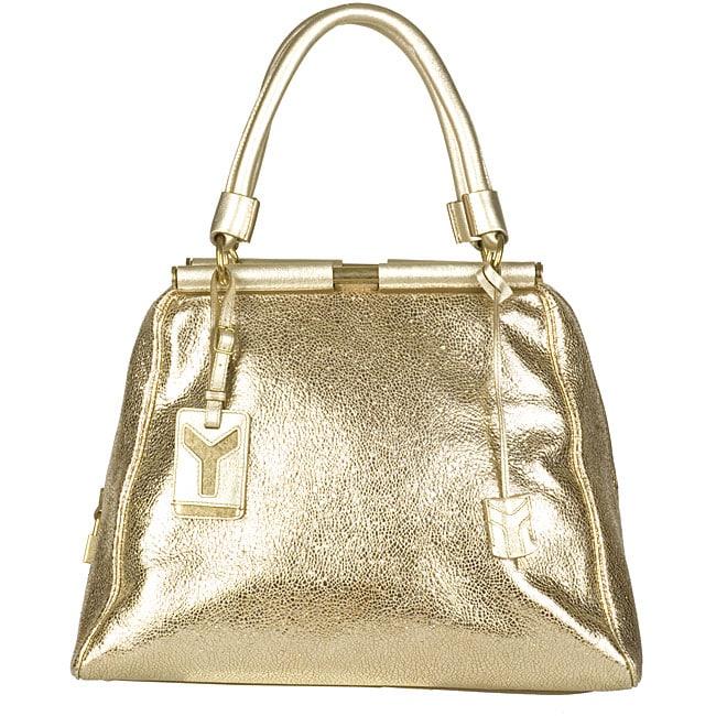 Yves Saint Laurent 'Majorelle Vulcano' Women's Gold Leather Bag