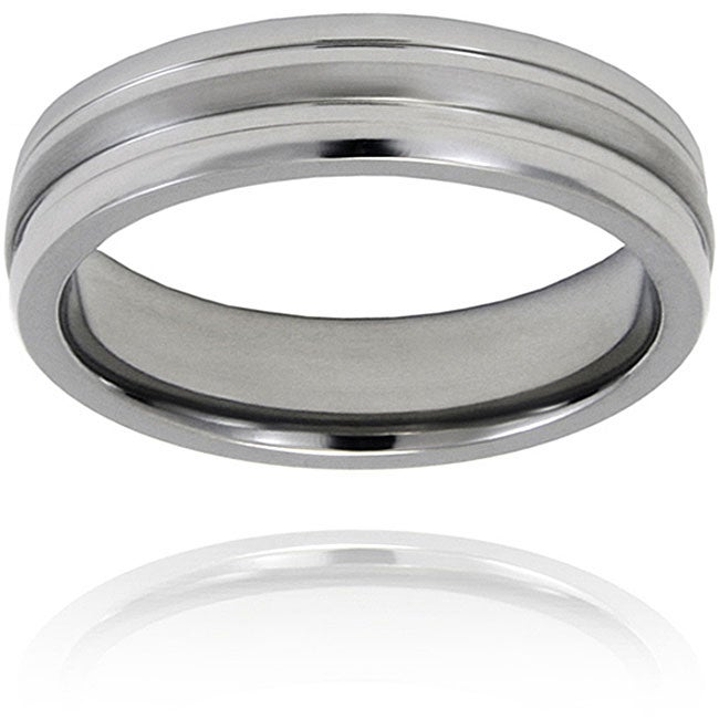 West Coast Jewelry Men's Titanium Grooved Ring
