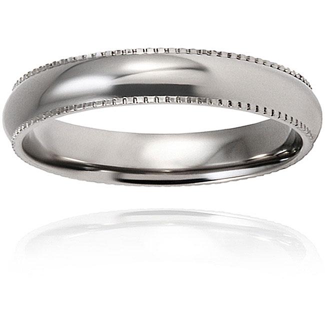 West Coast Jewelry Men's Titanium Polished and Rounded Milgrain-edge Ring (4-mm)