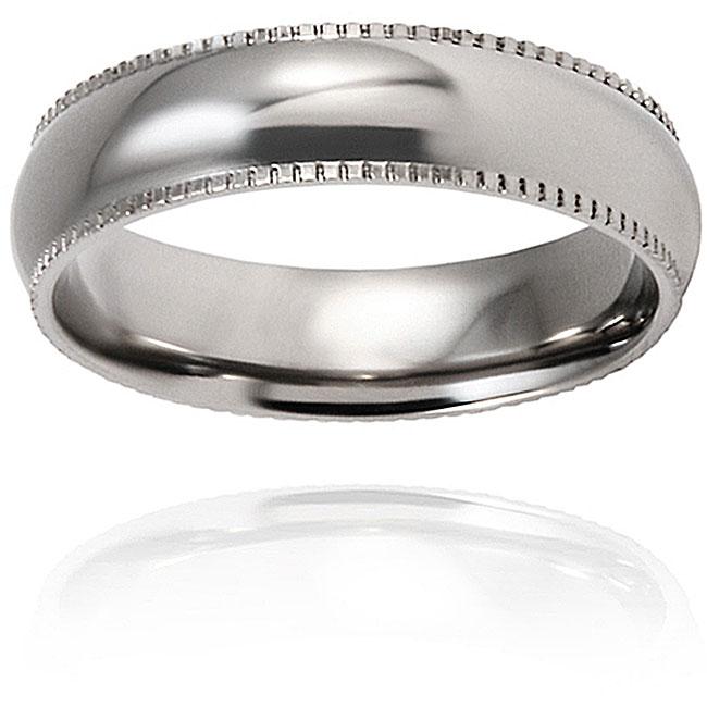 West Coast Jewelry Men's Titanium Polished/ Rounded Milgrain-edge 6-mm Ring