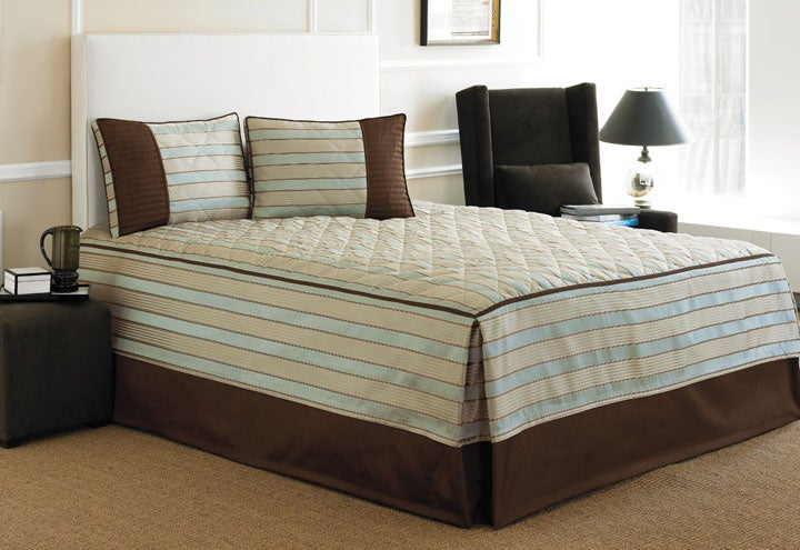 Rivington Blue/ Beige Fitted Bedspread