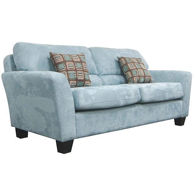 Shop Westwood Tiffany Blue Microfiber Sofa - Free Shipping Today ...