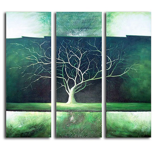 'Green Tree Night' Hand-painted Canvas Art
