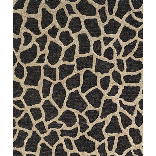 Hand-tufted Seville Giraffe Black Wool Rug (8' X 10