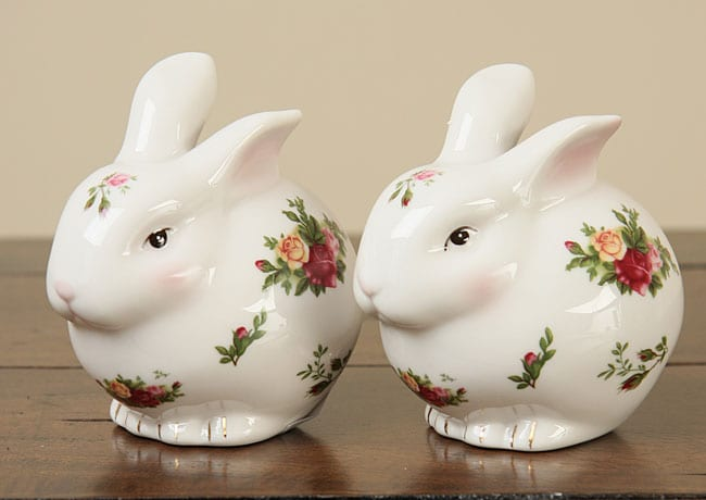 Royal Albert Old Country Roses Chubby Bunny Salt And Pepper Shakers