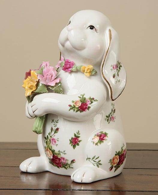 Royal Albert Old Country Roses Rabbit Statue
