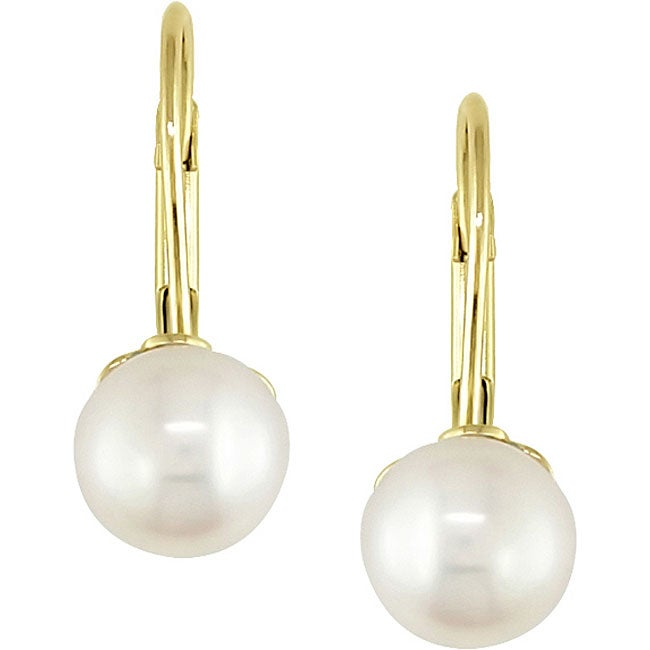 10k Gold Freshwater Pearl Children's Earrings (5-6 mm)