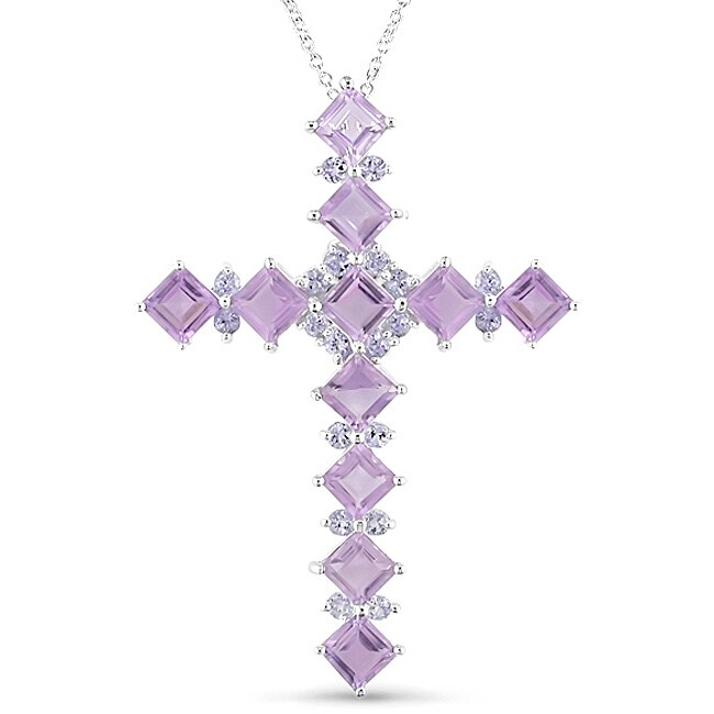 Sterling Silver Amethyst Cross Necklace
