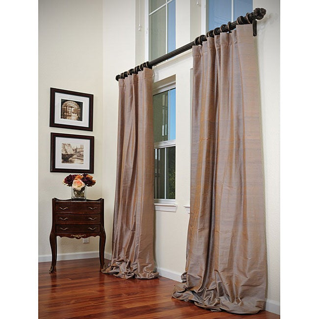 Signature Taupe Pewter 108-inch Textured Silk Curtain