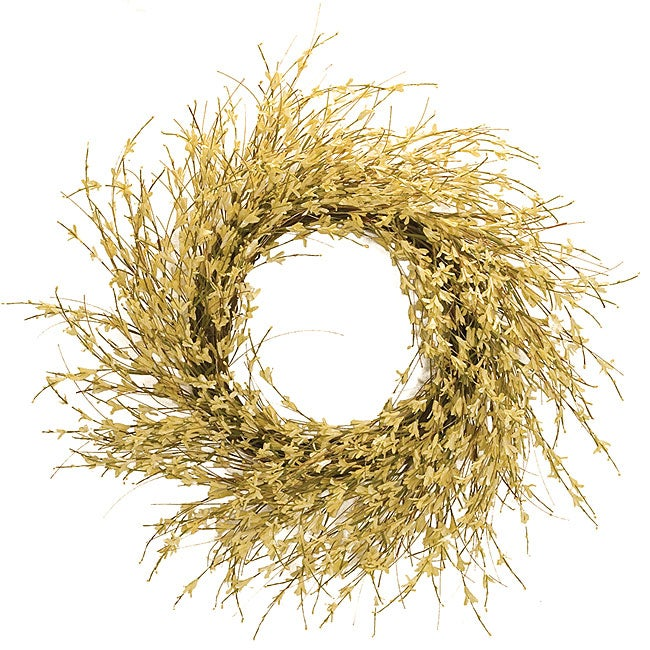 Large Light Yellow Forsythia Wreath