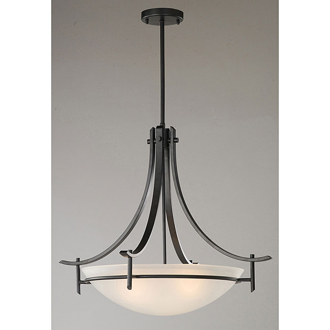 Contemporary Matte Black 3-light Chandelier
