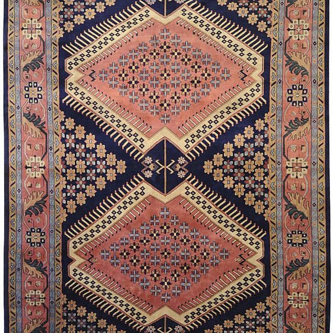Shop Hand Knotted Aztec Blue Wool Rug 9 X 13 Free