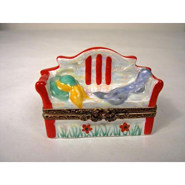 Limoges Hand Painted Garden Bench Keepsake Box