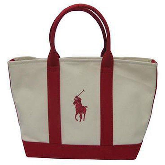 5b9478e42 Shop Polo Ralph Lauren Natural/ Red Tote - Free Shipping Today - Overstock  - 3862841