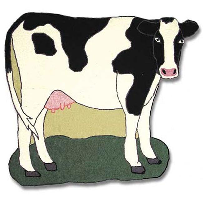 Hand-hooked Barnyard Cow-shaped Wool Rug