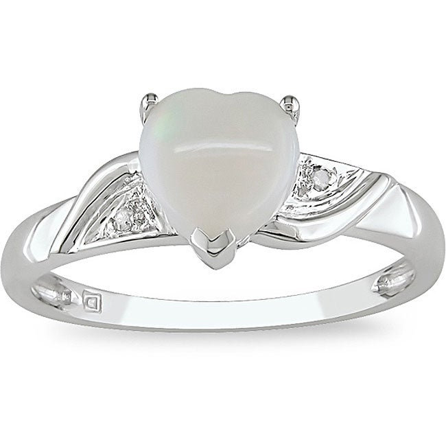 10k White Gold Opal Heart Ring