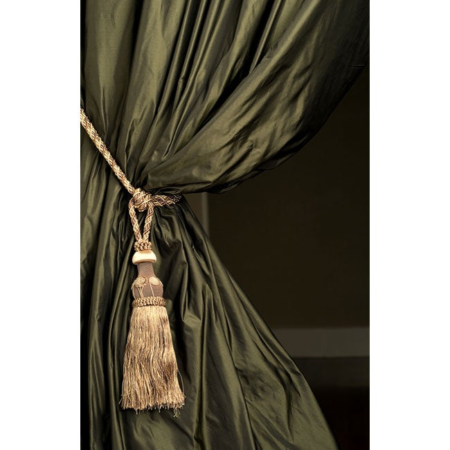 Signature forest green faux silk taffeta curtain panel 46 for Forest green curtains drapes